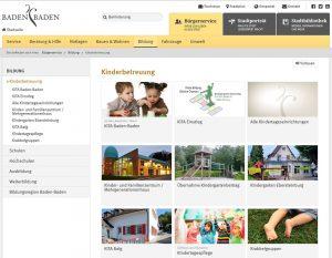 Screenshot der Webseite www.kita.baden-baden.de